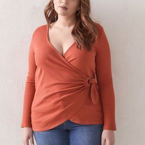 NWT Addition Elle Red Tie-Front Ribbed Top 0X